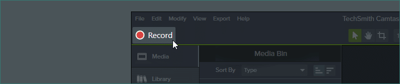 Select the Record tab on Camtasia